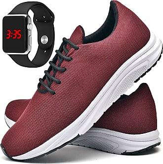 Juilli Tênis Com Relógio LED Prata Casual Masculino JUILLI R1108DB Tamanho:37;cor:Vermelho;gênero:Masculino