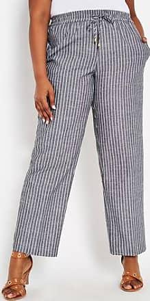 24a4691dee5 Ashley Stewart Plus Size Striped Drawstring Linen Pant