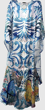101 Resort Wear Vestido Longo Kaftan 101 Resort Wear Cetim Borboletas Azul Branco