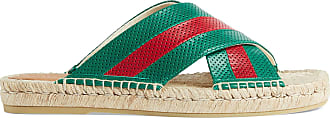 Gucci Mens leather slide sandal with Web