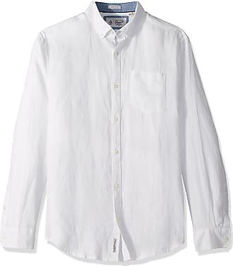 Original Penguin Mens Long Sleeve Washed Linen Shirt Button, Bright White, Large