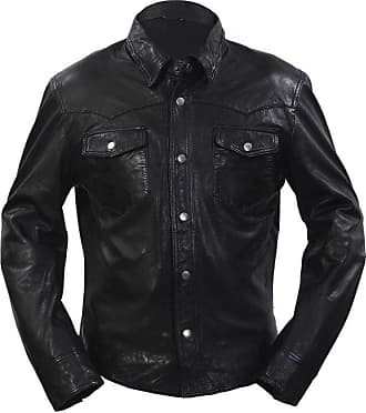 Infinity Mens Retro Trucker Denim Style Slim Fit Long Sleeve Casual Black Leather Shirt Jeans Jacket (2XL)