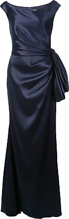 Badgley Mischka ruched gown with bow detail - Blue