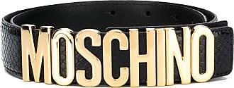 Moschino adjustable logo appliqué belt - Black