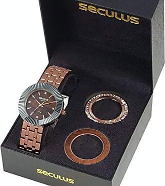 Seculus KIT Relógio Seculus Feminino 20598LPSVRS1 Analógico Marrom