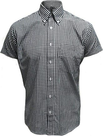 Relco Retro Blue Gingham Ladies Button Down Short Sleeved Shirts