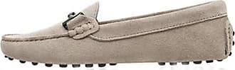 MGM-Joymod Ladies Womens Casual Slip-on Metal Buckle Khaki Grey Suede Leather Walking Driving Loafers Flats Moccasins Hiking Shoes 4.5 M UK