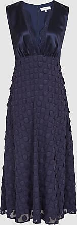 Reiss Leni - Jacquard Spot Midi Dress in Navy, Womens, Size 16
