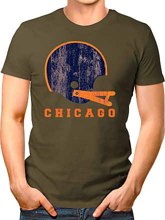 OM3 Chicago-Helmet - T-Shirt | Mens | American Football Shirt | L, Olive
