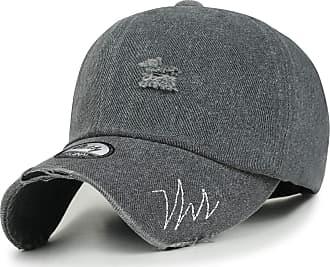 Ililily Vintage Washed Cotton Distressed Trucker Hat Stitched Baseball Cap, Dark Grey