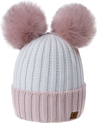morefaz Women Ladies Winter Beanie Hat Knitted Chunky Beanie Hat with Double Faux Fur Pom Pom (Powder-Pink White)