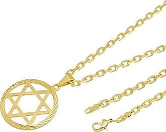 Tudo Joias Kit Pingente Estrela de Davi com Corrente modelo francesa Diamantada Folheado a Ouro 18k