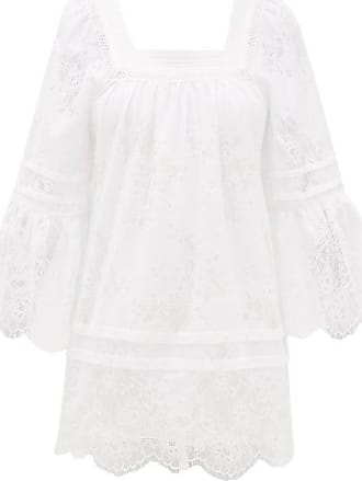 Self Portrait Self-portrait - Backless Lace-trimmed Voile Tunic Dress - Womens - White