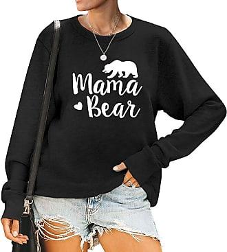 Dresswel Women Mama Bear Sweatshirt Bear Graphic Jumper Pullover Crew Neck Long Sleeve Tops Blouse (Black, XXL)