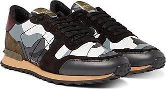 f3654c0671b7 Valentino Valentino Garavani Rockrunner Camouflage-print Canvas, Leather  And Suede Sneakers - Gray