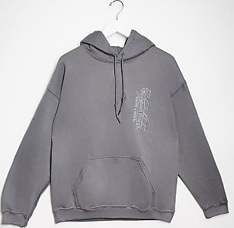 Reclaimed Vintage inspired hoodie with logo embroidery in washed charcoal-Grey