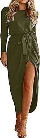 Yoins Women Maxi Dresses Long Sleeve Round Neck Dress Sexy Split Long Dresses Casual Evening Army Green