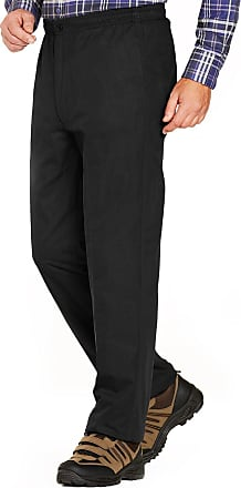 Chums Mens Fleece Lined Elasticated Thermal Draw Cord Trouser Pants Black 48W / 29L