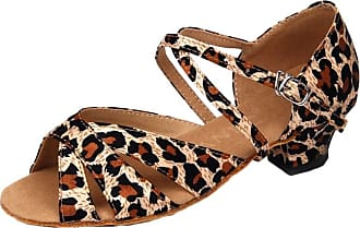 Insun Girls Ballroom Dance Shoes Latin Salsa Performance Shoes Suede Sole Leopard 11.5 UK Child