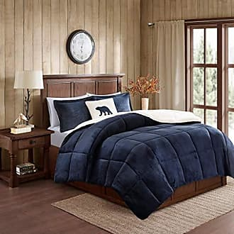 Woolrich Alton Ultra Soft Plush to Sherpa Berber Down Alternative Cozy Cold Weather Winter Warm Comforter Set Bedding, Full/Queen, Navy/Ivory