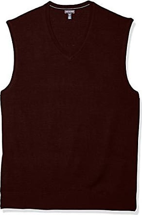 Van Heusen Mens Big and Tall Solid Jersey Sweater Vest, cranberry heather, 4X-Large Tall