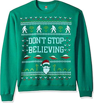 Hanes Mens Ugly Christmas Sweatshirt,Emerald Night Dont Stop Believing,Large