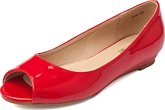 Dream Pairs Dories Womens Peep Toe Ballet Slip On Flats Shoes Red Pat Size 9.5 US/7.5 UK