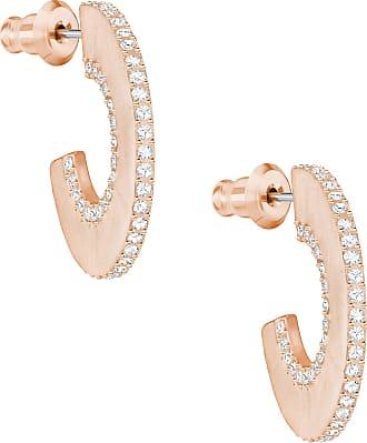 Swarovski Brincos Redondos Hoop Fever, Pequenos, Brancos, Banhados Em Ouro Rosa