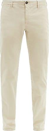 Incotex Slim-fit Stretch-cotton Blend Trousers - Mens - Cream