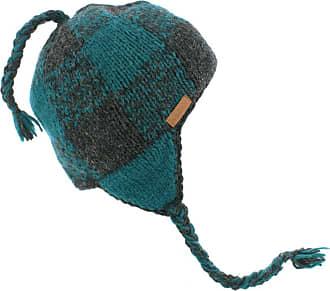 KuSan 100% Wool Beannie/Trapper/Earflaps Fleece Lined (Grey/Teal)