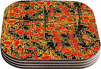 KESS InHouse Bruce StanfieldGolden Red Gold Red Coasters (Set of 4), 4 x 4, Multicolor