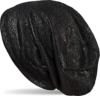 styleBREAKER Beanie hat with Glitter Threads and Small Sequins, Long Slouch Beanie, Ladies 04024148, Color:Black
