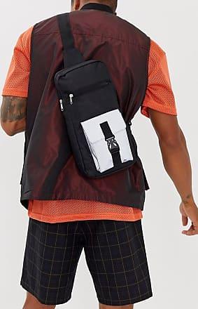 7X SVNX single strap cross body bag with reflective detail-Black