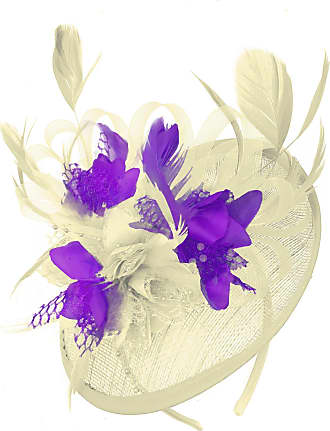 Caprilite Cream Ivory and Purple Sinamay Disc Saucer Fascinator Hat for Women Weddings Headband