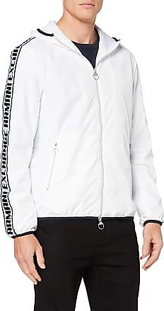 A X Armani Exchange Mens Logo Tape Wind Breaker Jacket, White (White 1100), Medium