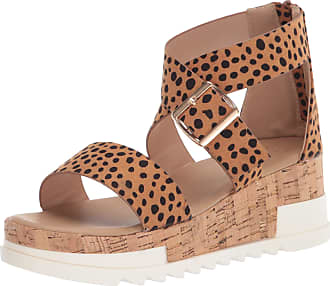 Yoki Womens BRENDA-59 Wedge Sandal, Cheetah, 4.5 UK