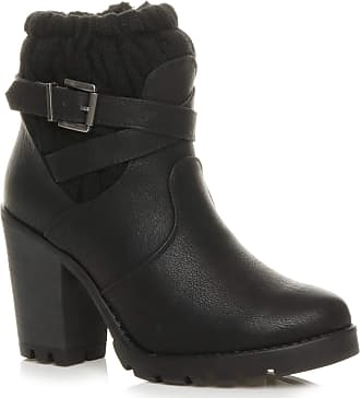 WOMENS LADIES BLOCK HIGH HEEL CHUNKY KNITTED COLLAR ZIP BIKER ANKLE BOOTS SIZE