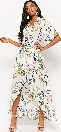 Forever 21 Forever 21 Floral Wrap High-Low Dress Ivory/green