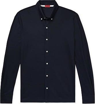 Isaia Slim-fit Button-down Collar Wool-piqué Shirt - Blue