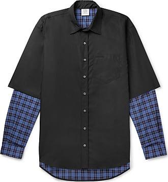 VETEMENTS Oversized Layered Printed Cotton Shirt - Black