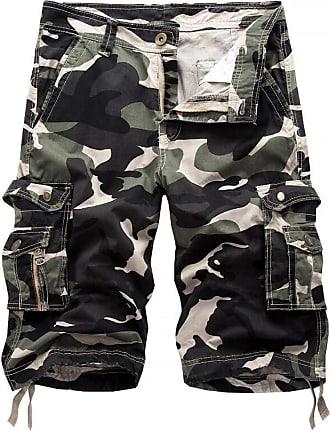 Inlefen Mens Summer Camouflage Multi-Pockets Cargo Cotton Shorts Work Leisure Outdoor Beach Short Pants with Zipper(Light Green/32)