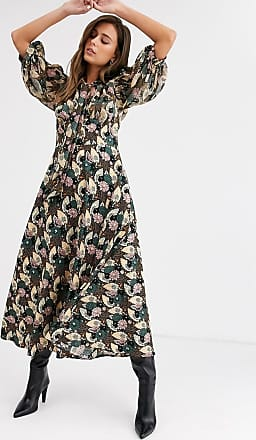 Topshop midi dress with gathered neck in green