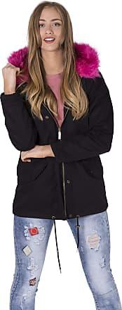 Noroze Womens Faux Pink Fur Parka Coat Hood Jacket (Black, 18)