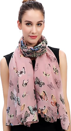 Lina & Lily Butterfly Print Womens Scarf Large Size (Dusty Pink)(Size: One Size)