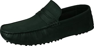 Base London Morgan Mens Slip On Leather Driving Loafers Shoes-Black-5