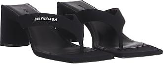 Balenciaga Sandals - Logo Square Sandals Leather Black - black - Sandals for ladies