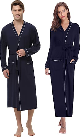 Aibrou Bathrobe Soft Cotton Full Length Nightwear Dressing Gown Robe with Pockets for Men /& Women