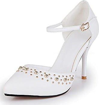 27ffdbfb7157fa Easemax Damen Elegant Pointed Toe Knöchelriemchen High Heel Sommer Pumps  Weiß 34 EU