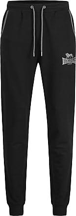 Lonsdale Mens Wansford Casual Pants, Black/Marl Ash, M