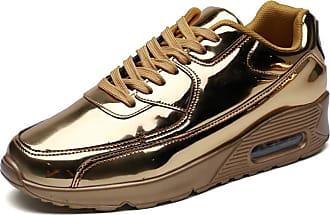 LanFengeu Men Sport Casual Shoes Shock Absorbing Breathable Low Top Flat Sneakers Outdoor Waterproof Anti Slip Running Trainers Gold